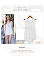 Hot Sell Free Shipping 2014 New Summer Wild Candy-colored Chiffon Shirt Dress Style Stitching Fake Two Camisole