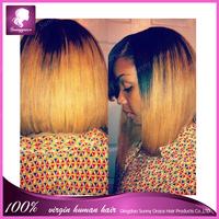 Free shipping Full Density Blonde human hair Bob wigs Brazilian Virgin ombre color bob lace front hair wig for Black Women