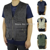 2014 summer men's plus size fishing jacket denim vest and outdoor casual multi-pocket waistcoat men 6xl-10xl free shipping