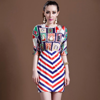 2014 new spring and summer women's dress stripe tank dress stamps pullover o-neck slim fashion one-piece dress