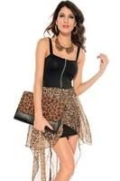sheath mini summer dress 2014 for women clothing sexy leopard print chiffon patchwork irregular dress spaghetti strap dresses