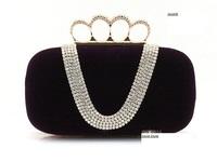 women super luxury ring  knuckle rhinestones  purse. fashion u shape diamond velvet  Handbag.  Evening Bag purse Shoulder bag