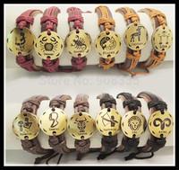 48pcs 2014 new 12 constellations zodiac symbol genuine leather bracelet ,animal sing bracelet for Men & Women 1043