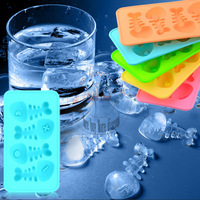 DHL Free shipping wholesale 100pcs/lots Novelty Soft 4 Fishbone ice Cube tray Silicone ice frozen forming mold