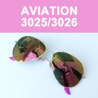 3026 3025 Pink Lenses Metal Aviator Sunglasses Men Women Designer Coating Color Glasses Outdoor Driving Original Box Eyewear