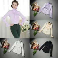 S-XXL  New 2014 Women & Lady slim elegant Chiffon Vintage Lace blouses/stand collar,office worker casual Vintage Shirt tops