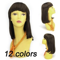 Lady wig model wig Fashion Heat Resistant Synthetic Fiber Short Multicolor Wigs for Women New 2014 Free Shipping 9281
