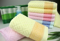 2014 new 100% cotton microfiber towel geometric design face towel 3 type and 3 colors +free shipping