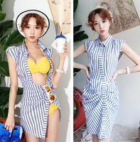 women clothing for 2014 summer sleeveless stripe slim sexy beach shirt one-piece dress