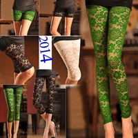 12 new styles Sexy summer Lace floral hollow out ankle-length slim leggings Free shipping girls pencil pants w/ 3 colors