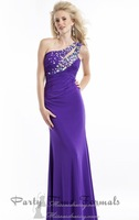 Hot Sell ! Long One Shoulder Formal Evening Gowns 2014 ,Sexy Party Dresses with  Clear Jewels Adorn the Bodice