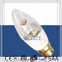 Retail 10pcs/Lot Driverless Dimmable 4W B22 AC COB led Candle light Clear Glass 270 degree 230V 2700K 3000K 4000K 6000K