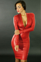 New Fashion 2014 Sexy Women Spring/Autumn Clubwear PU Dress Faux Leather Long Sleeve Plunging V Neck Party Midi Dress Black/Red