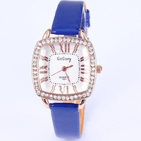 Luxury rhinestone crystal lady's watch women leather roman number square quartz analog casual wrist watch free shipping