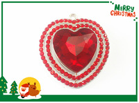 Newest !  10pcs/lot  44mm  Silver Plated Red Heart  Rhinestone  Pendants For Chunky Necklace