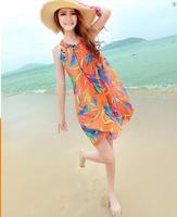 2014 beach vacation Chest strap chiffon goddess temperament Slim thin sexy O-neck dress bohemian beach dress