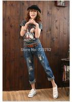 Hot Sale 2014 Women Fashion Jeans Hole Loose Women Harem Pants Plus Size Women Jeans D0326