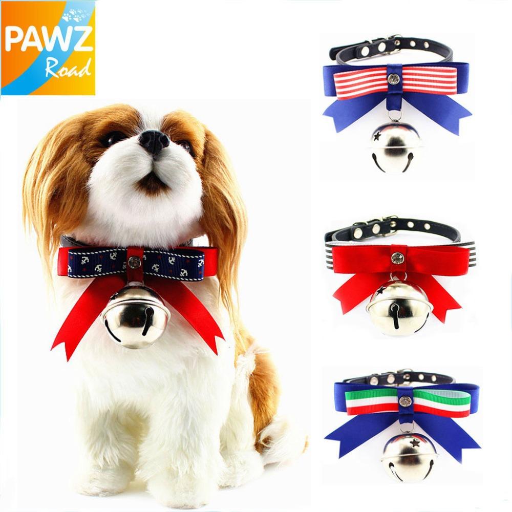 2014 New 4 Styles Fashion Bowknot Bell Design Pet Cat Dog Collar Stripe/Sailor