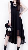 2014 Summer women fashion black dresses Plus size 3XL tank keen-length chiffon dress solid color casual dress free shipping