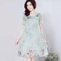 Summer new sweet temperament Slim dress national wind dress