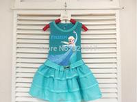 5pcs/lot new 2014 Frozen clothing Elsa princess Dress For Girl PrinDresses summer Girl Dress cotton vest dress girls' Clothing