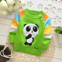 2014 autumn children cotton brand new t shirt girl longsleeve sweater kid cute lovely panda top knit appliques clothing 3pcs/lot