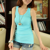 free shiping 2015 new spring high quality cheap women tops tank top summer tanks camisole o-neck slim fiting fitting thread vest