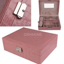#Cu3 Pink Leather Jewelry Box Case Storage Organizer Earrings Display Lock Key