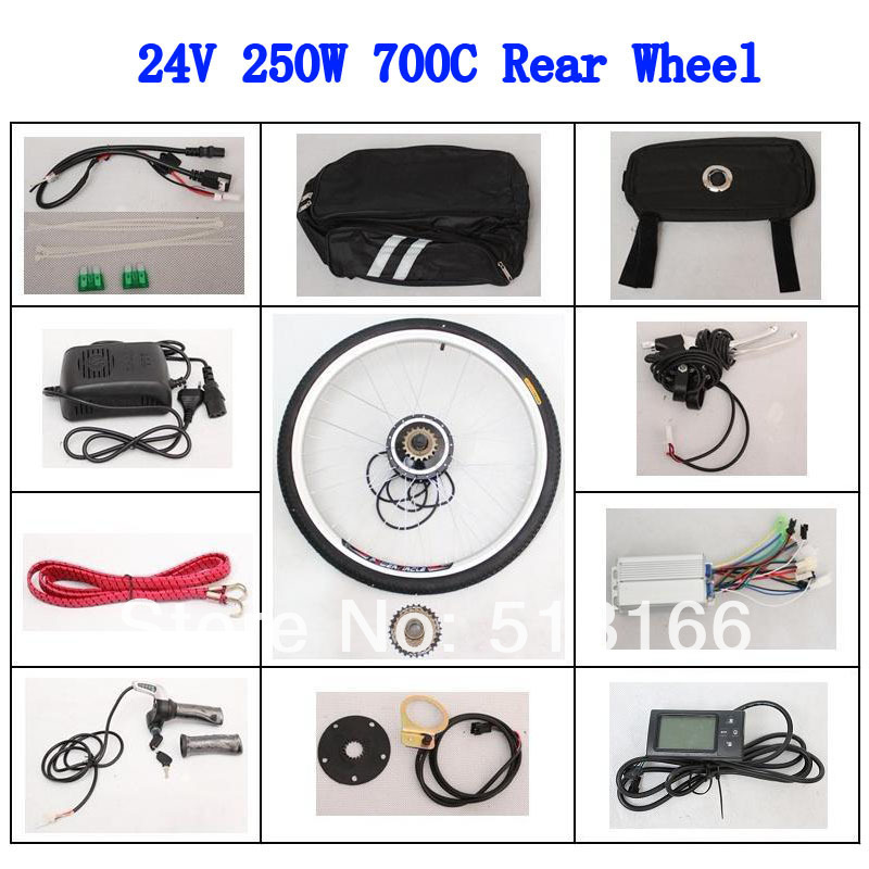 24V 250W Brushless Motor 700C Silver Spokes LCD Screen Ebike Rear Wheel Bicycle Conversion Kits For Electric Bike(China (Mainland))