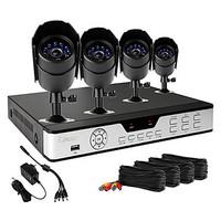 Zmodo 4 CH Key DVR 4 Outdoor 600TVL Day Night CCTV Home Security Camera System