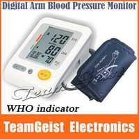 20/lot BP-103H Portable Home Upper Arm Blood Pressure Monitor WHO 4X30 memories LCD Digital Wrist Pulse Heart Beat Meter