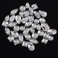 Free shipping  200PCS Clear  Flatback Acrylic Sewing Rhinestone Assorted Shape Sew on beads