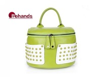 2014 New Fashion Handbags Real Leather Shoulder Bags With Rivet Arc-shaped Bucket Candy Colors Bag BH5612 Wholesale Retails