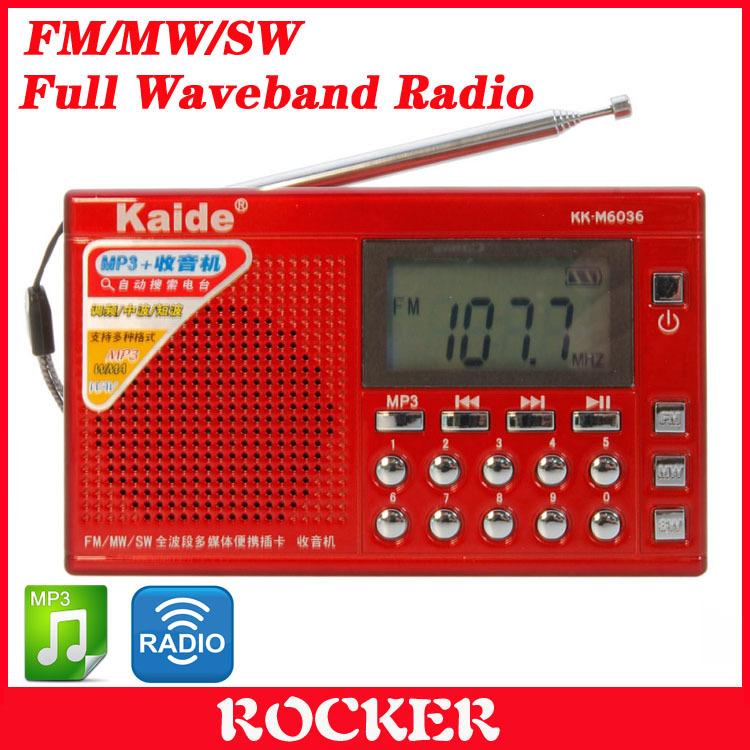 Free Shipping+Kaide KK-M6036 Portable FM/MW/SW Full Waveband Radio (Red)(China (Mainland))