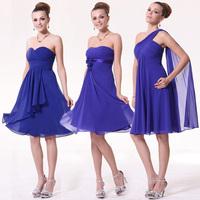 Blue tube top one shoulder dress short  bridesmaid dress  PARTY DRESS sister dress free shipping