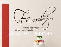 family where life begins small wall art stickers quotes home decoration decor vinyl removable lettering words wall decals