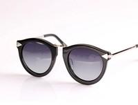 Designer Inspired Vintage Retro Fashion Round P-3 Frame Acetate Women Metal Frame kw sunglasses black tortoise