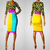 SuperStar Multi-Colors Club Sexy O-Neck Breast Bare Bandage Half Sleeve Yellow Zebra Braces Dress