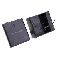NI5L Black Battery Holder Case Box Base Socket with Wires for 2x D-type Batterie