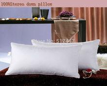 Nobel piuma d'oca giù cuscino salute cuscino morbido 48*74 cm 1 kg cotone di lusso della copertura di trasporto libero bianco  (China (Mainland))