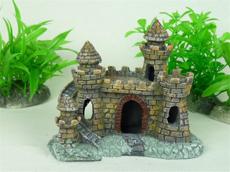 Resin 10cm Fort Hot Aquarium Castle Tower Decor Fish Tank Ornament Cave Aquarium Decoration Landscape Castle Bunker Towers(China (Mainland))