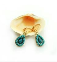 Free shipping 2014 the new delicate blue stone fashion beautiful charm earrings Water body eardrop joker character high quantify