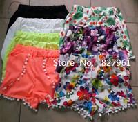 2014 New Arrival Women European American Style Criss-Cross Floral Print Beach Shorts  Free Shipping #P007