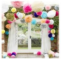 12pcs/lot mix sizes 20cm 25cm 35cm 21 Colors Wedding Party Event Decor Craft flower ball Tissue Paper flower ball Pom Poms