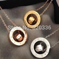 elegant titanium steel double circle letter necklace,three color option,