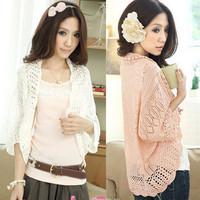 2014 summer cutout chiffon lace crochet batwing sleeve waistcoat cardigan loose sweater female thin cardigan for women