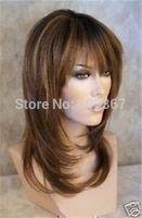 Belle longue perruque brune mlange\wig Human Kanekalon Fiber Hair full queen Wigs
