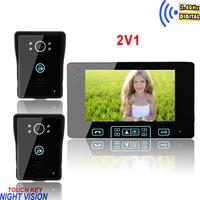 "Free shipping New touch key 7"" color wireless video door intercom TS-WP708 2V1 system with alarm rainproof camera"