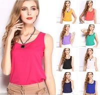 2014 New Fashion Summer Women's Clothes Chiffon Sleeveless Solid neon candy color Causal Chiffon blouse shirt women Top