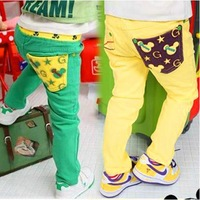 Retail 2014 New autumn baby boy girl trousers yellow green casual trousers kids soft cotton pants children trousers